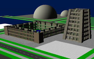 Screenshot of a virtual 3D environment showing unfinished buildings.