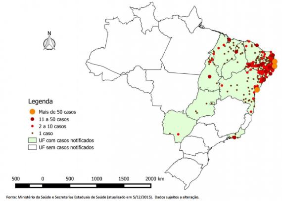 Este diagrama muestra la concentración de casos de Zika relacionados con los otros casos de microcefalia en Brasil.