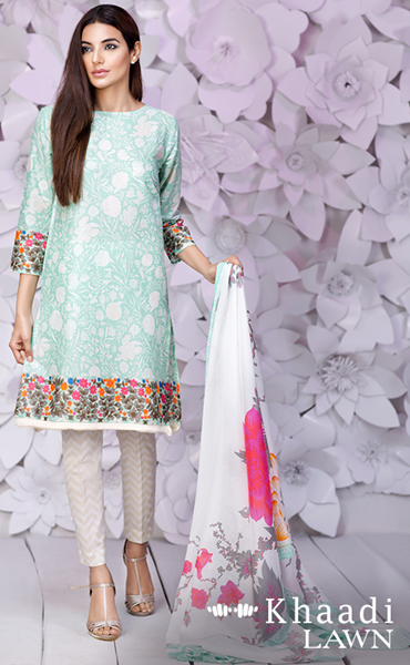 29b3705e96 Khaadi Unstitched 2 piece suits(embroidered lawn shirt with lawn dupatta.)  For price and further details please contact us at whatsapp 00923453043179.