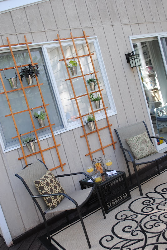 So in love with how this space turned out- great chairs and stunning trellis
