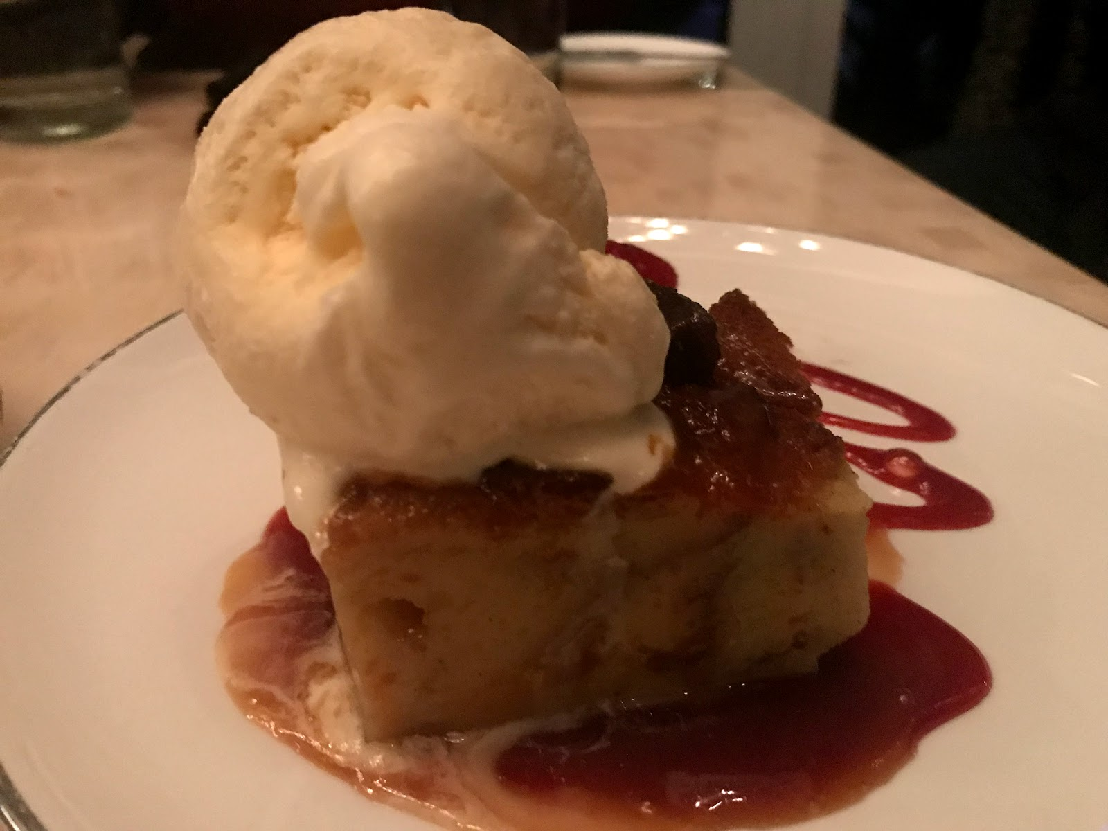 Image : Bread pudding at Jimmy's Seafood and Steakhouse:And can you believe I still made room to try the bread pudding and ice cream my husband ordered? By the time we left Jimmy's, we were full of food, fun, and laughter.