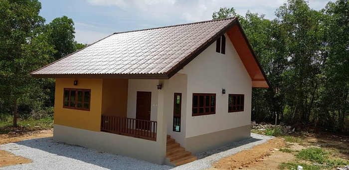 These small house plans to be built under 80 square meters. It consists of 2 bedrooms, 2 bathrooms, a living area and a kitchen with estimated costs starting 300 thousand Baht or 500 thousand in Philippine Peso. Suitable for small families.