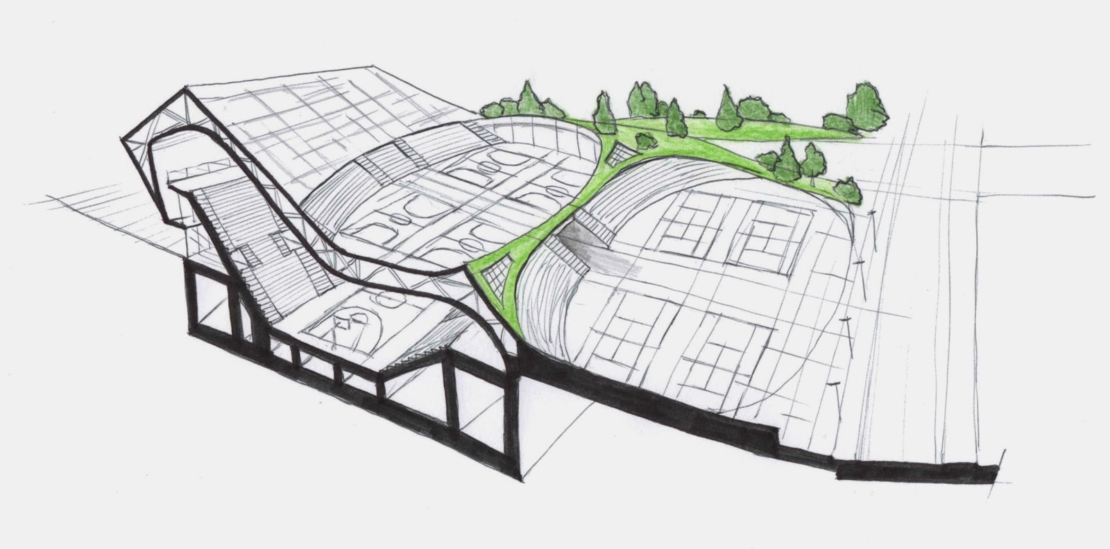Thinking Architecture Through The Sketch New Sports Hall In Bergamo Italy