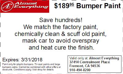 Discount Coupon $189.95 Bumper Paint Sale March 2018
