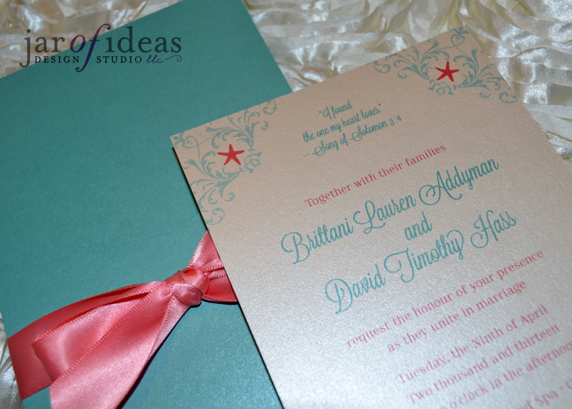 Wedding Invitations Coral Color: Jar Of Ideas: Coral + Turquoise Beach Themed Wedding