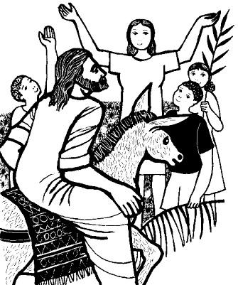 Dibujo del Domingo de Ramos para colorear o pintar