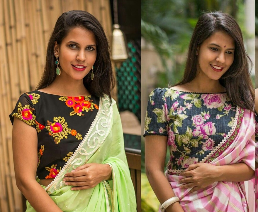 c549896e422962 36 Printed Blouse Designs for sarees with trendy neck patterns ...