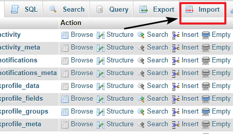 restore database of WordPress site