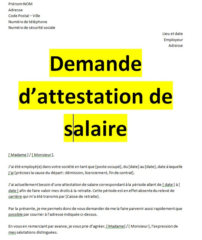 Exemples de demandes attestation de travail word | Word doc, Words