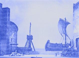 nave a vela inquadrata tra due edifici
