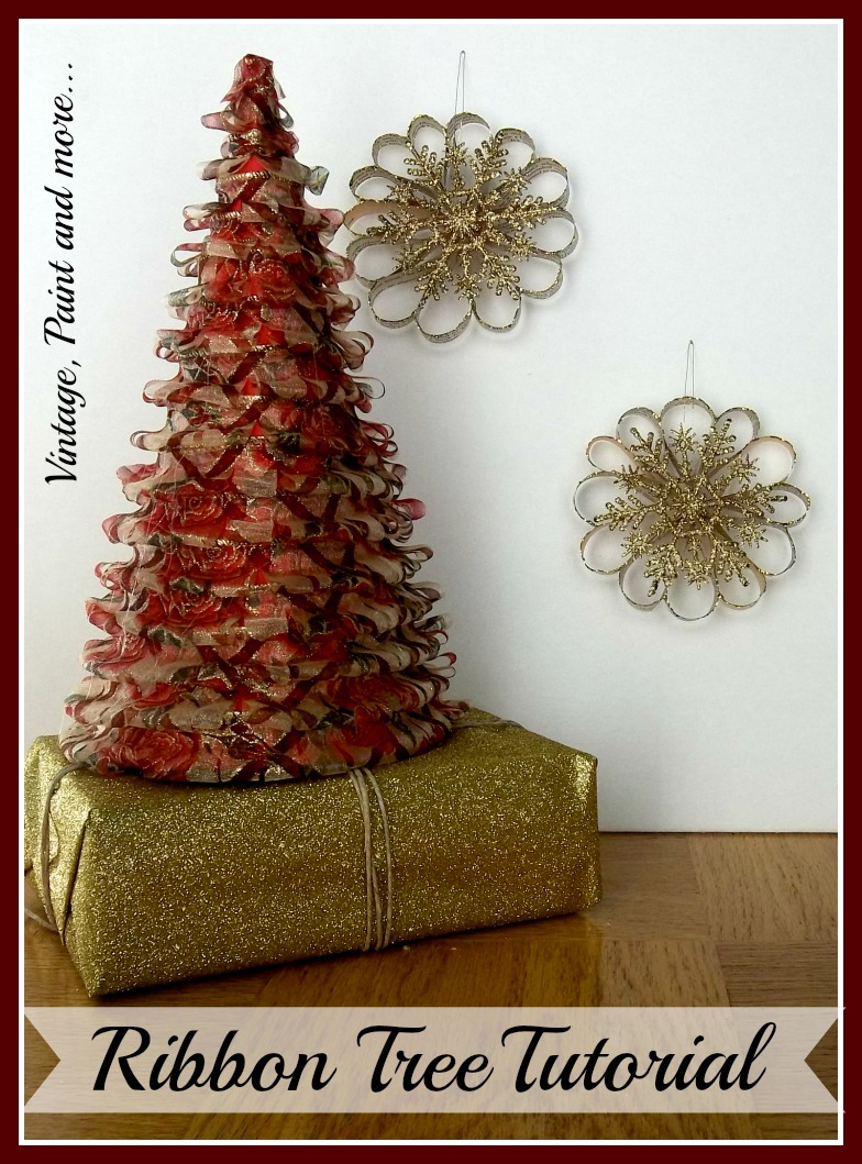 Vintage, Paint and more... DIY ribbon cone trees