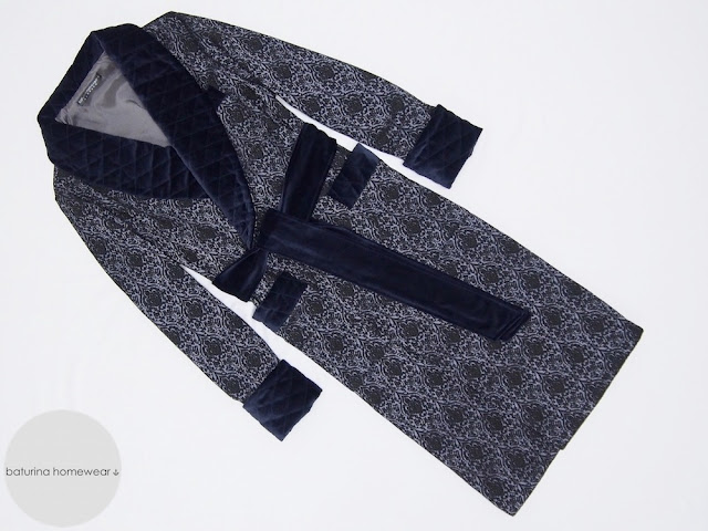 mens silk robe quilted dressing gown dark navy blue paisley jacquard warm soft extra long gentleman velvet robes