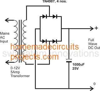 full wave power supply circuit using 4 diode bridge rectifier circuit