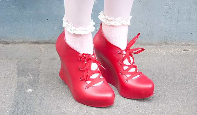 Melissa shoes, red jelly shoes, cute socks
