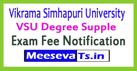 VSU Degree Supple Exam Fee Notification 2017