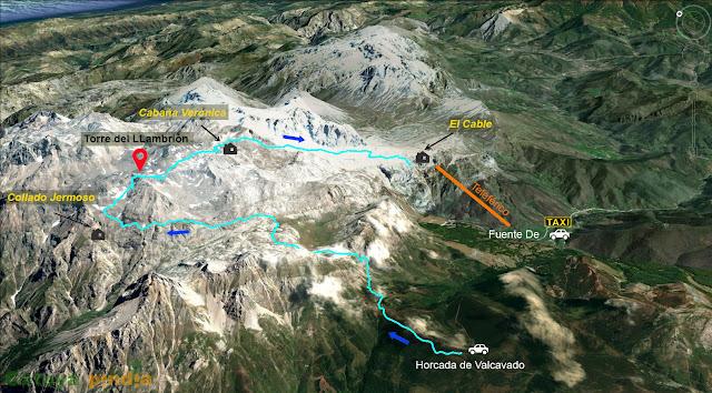 Mapa señalizado de la ruta al la Torre del Llambrión en Picos de Europa.