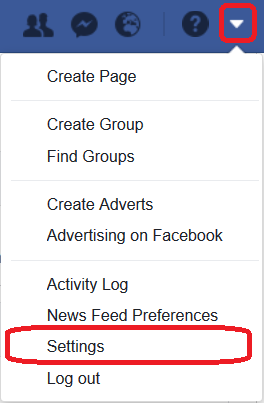 Facebook Dropdown Menu