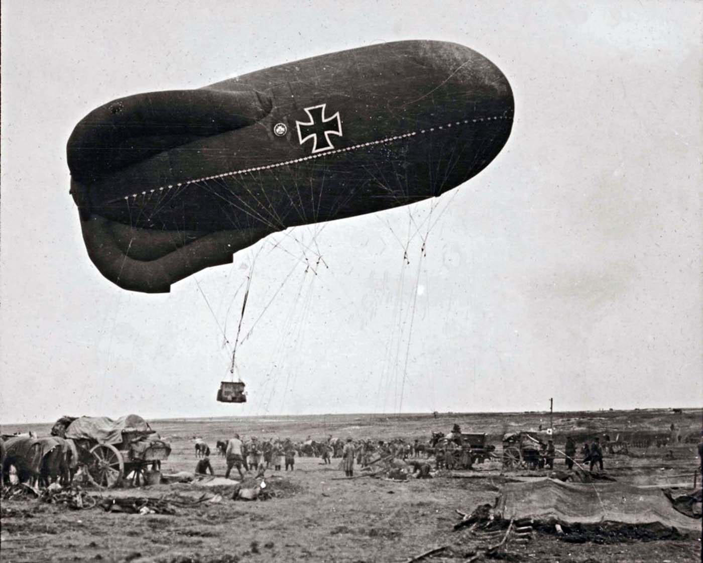A German observation balloon takes off to direct artillery fire at the Somme in 1916. Walter Kleinfeldt was fascinated with the latest machinery of war.