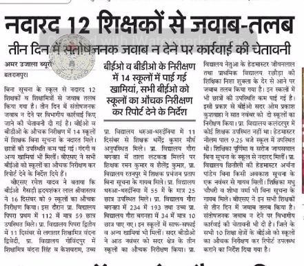 बलरामपुर: बिना सूचना के नदारद 12 शिक्षकों को किया जवाब-तलब, तीन दिन में संतोषजनक जवाब न मिलने पर होगी कार्रवाई