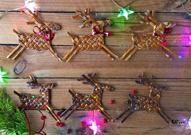 reindeer, christmas decor, wicker paper, papierowa wiklina, renifer, Boże Narodzenie