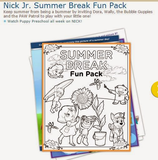 Nick Jr: Free Printable Summer Breack Fun Pack.