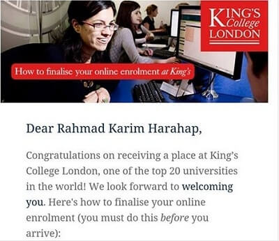 beasiswa king's college london