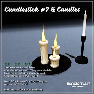 [Black Tulip] Mesh - Candlestick #7 + Candles