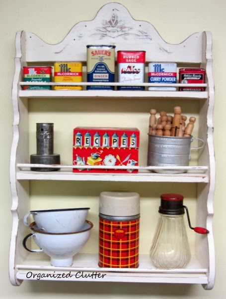 Vintage Spice Rack with Collectibles www.organizedclutterqueen.blogspot.com