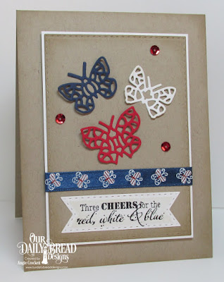 ODBD Let Freedom Ring, ODBD Custom Bitty Butterflies Dies, ODBD Custom Double Stitched Pennant Flags Dies, ODBD Custom Double Stitched Rectangles Dies, Card Designer Angie Crockett