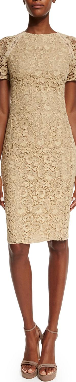 Ralph Lauren Short-Sleeve Floral-Guipure Lace Dress, Palomino