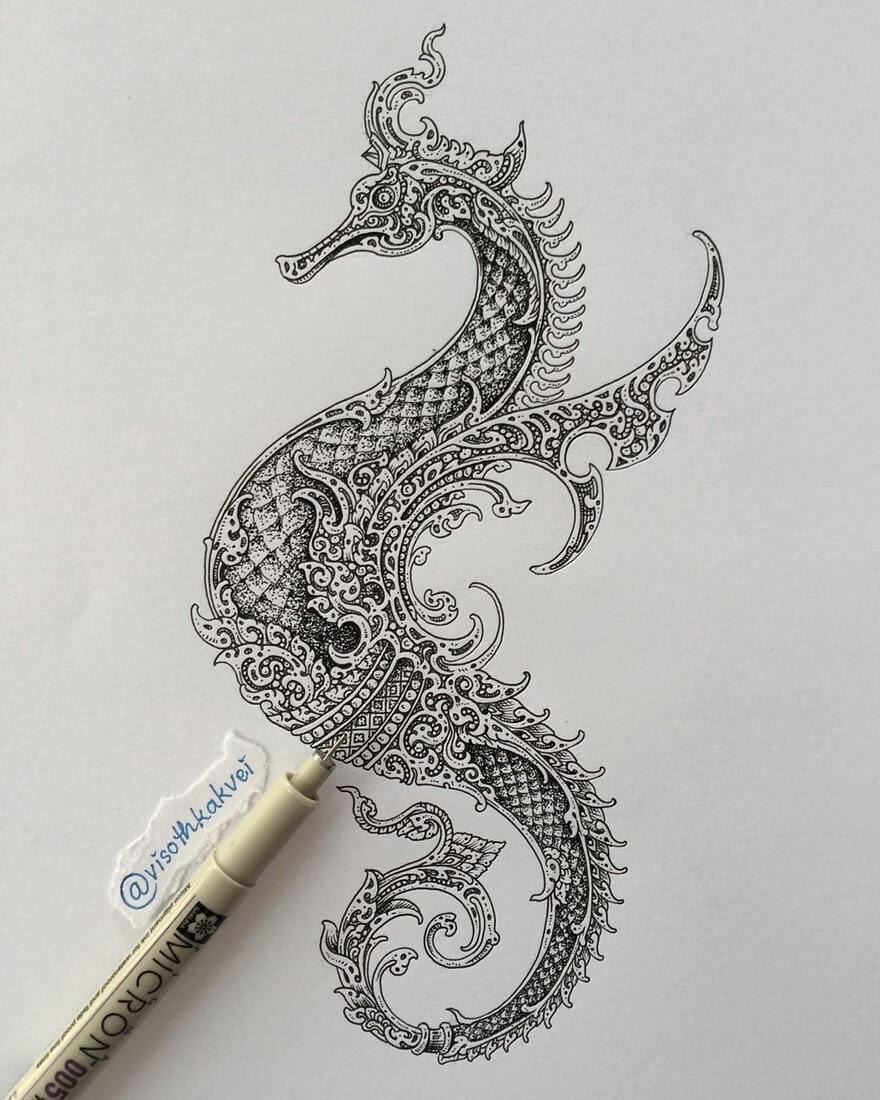 08-Ornate-Seahorse-Visoth-Kakvei-visothkakvei-Intricate-and-Ornate-Black-and-White-Drawings-www-designstack-co
