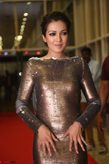 Actress Catherine Tresa in Golden Skin Tight Backless Gown at Gautam Nanda music launchi ~ Exclusive Celebrities Galleries 093.JPG