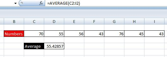 average excel formula in hindi