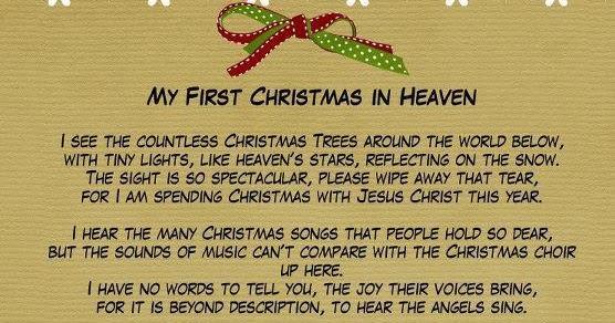 Christmas In Heaven Poem Printable.My First Christmas In Heaven Printable Billy Knight