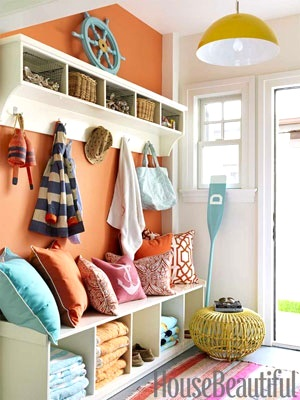 nautical entryway idea with orange painted walls