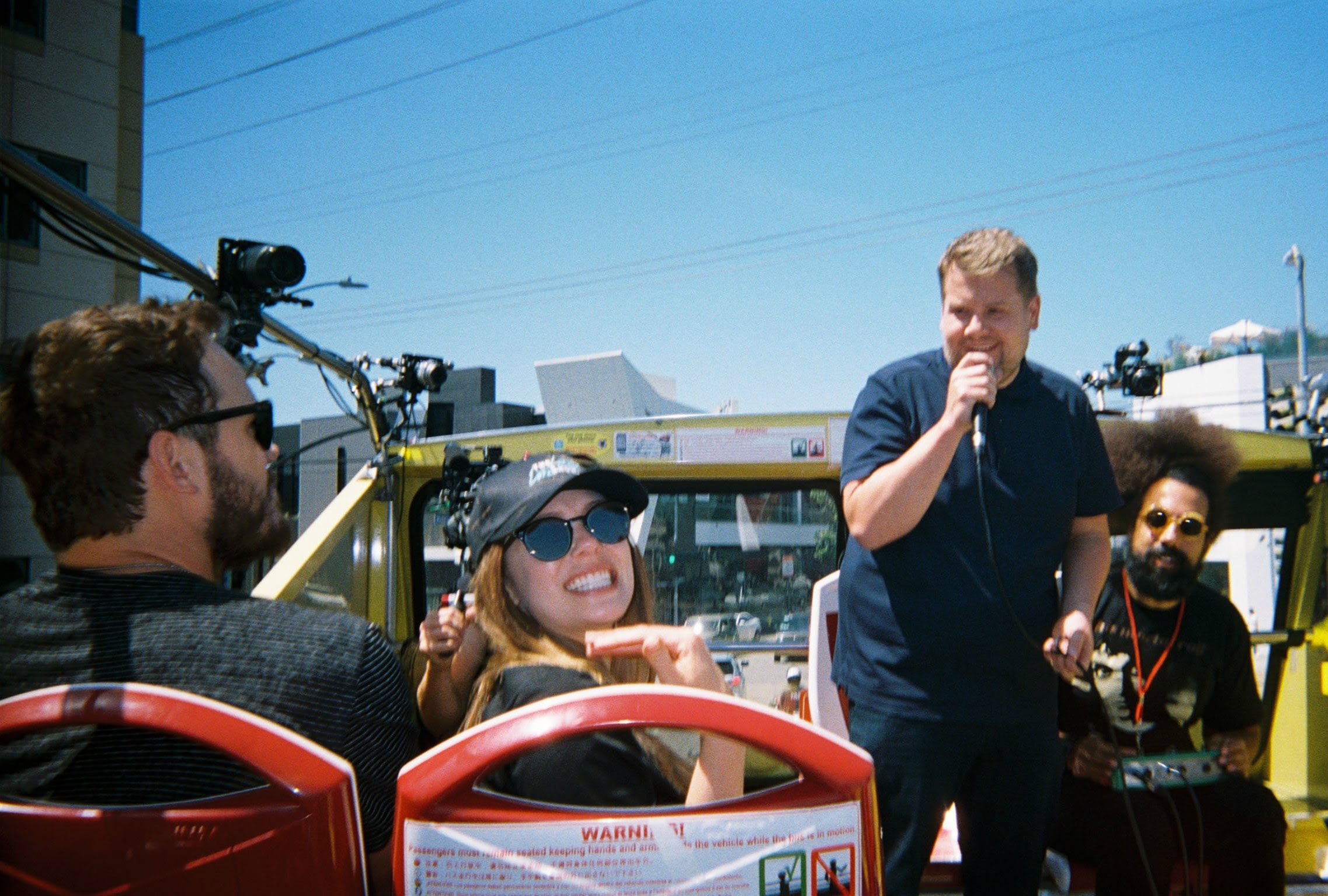 Avengers on a los angeles bus tour with james corden for Tour avengers