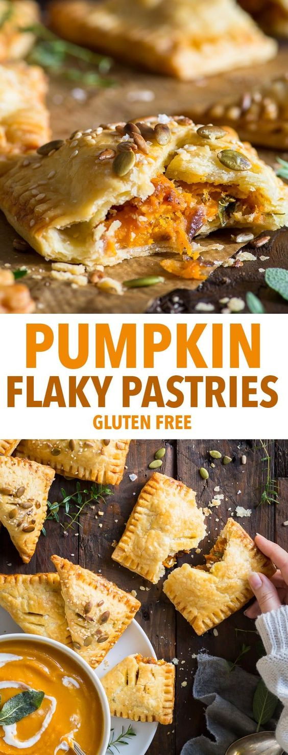 Pumpkin Flaky Pastries with Caramelised Onions and Cheddar (Gluten Free)