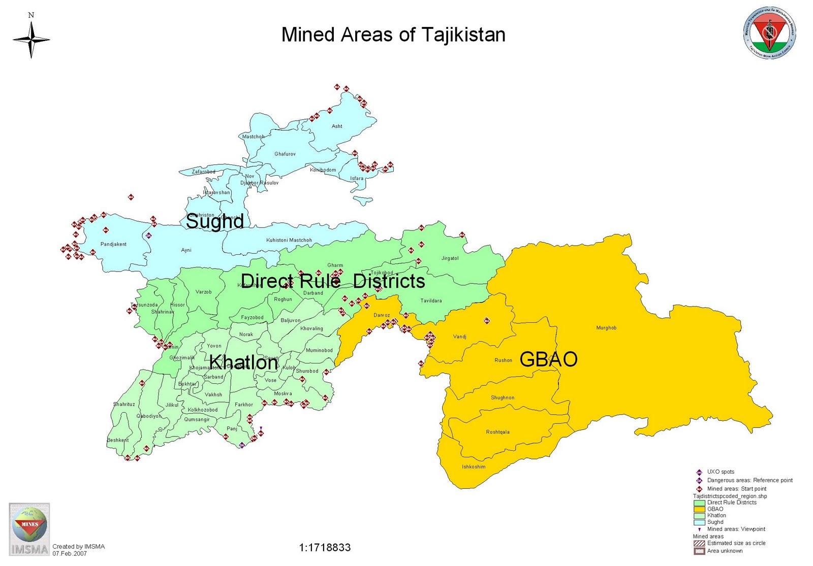 Tajikistan Map Political Regional Maps of Asia Regional Political City