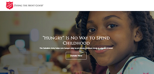 "snapshot of Salvation Army web site.  Image of a little girl smiling at camera.  Text: Salvation Army Doing the Most Good.  ""Hungry"" is no way to spend childhood.  Donate now."