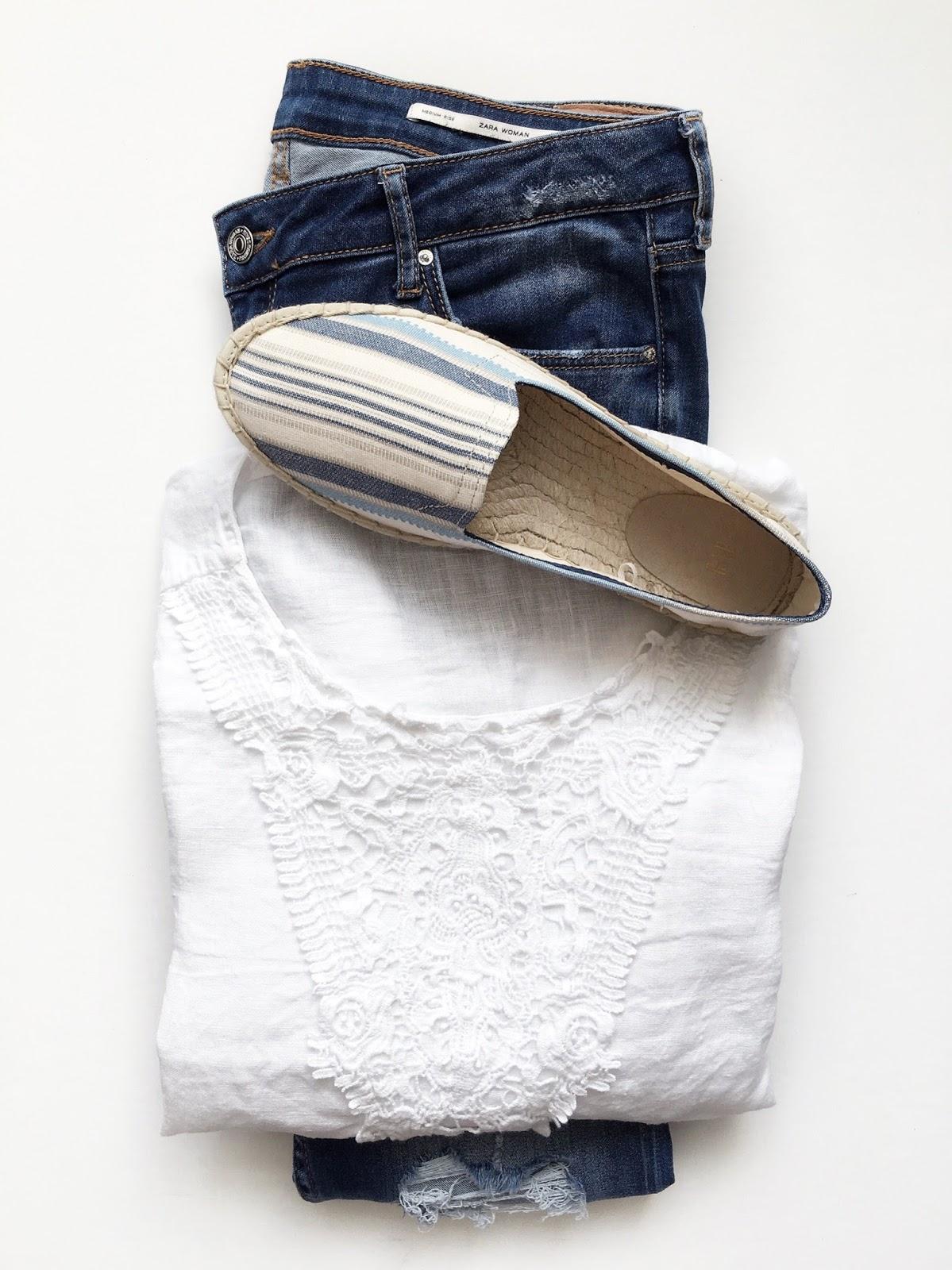 Striped Gap espadrilles, Zara linen top and Zara distressed skinny jeans