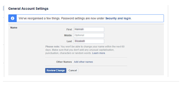 General Account Settings for change my name on my Facebook account