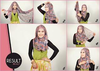 Cara mudah memakai jilbab pashmina sifon bunga