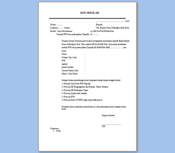 Contoh Format Surat Permohonan Tambah PTK Baru Aplikasi Dapodik