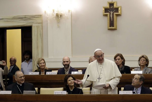 Pope Francis and Queen Silvia of Sweden attend the conference organized by the Pontifical Academy of Social Sciences at the Vatican