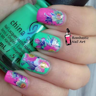 Neon floral nail art