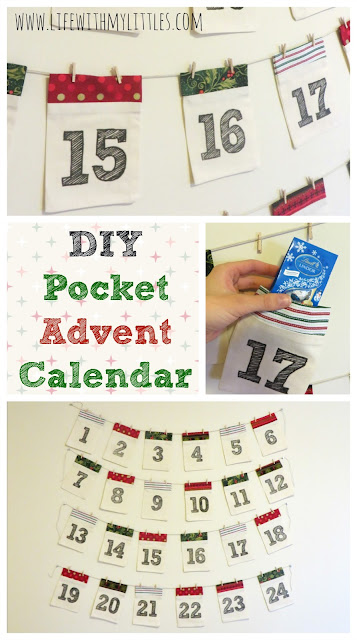 advent calendar, advent garland, pocket advent, christmas craft, sewing, christmas