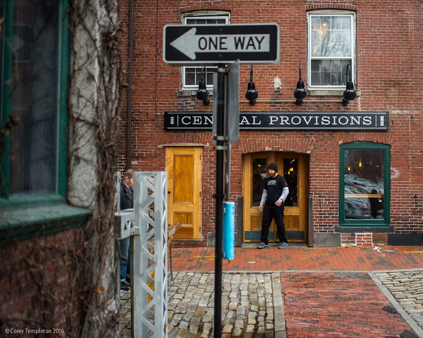 Portland, Maine USA March 2016 photo by Corey Templeton of the Old Port at Dana and Wharf Streets including Central Provisions.