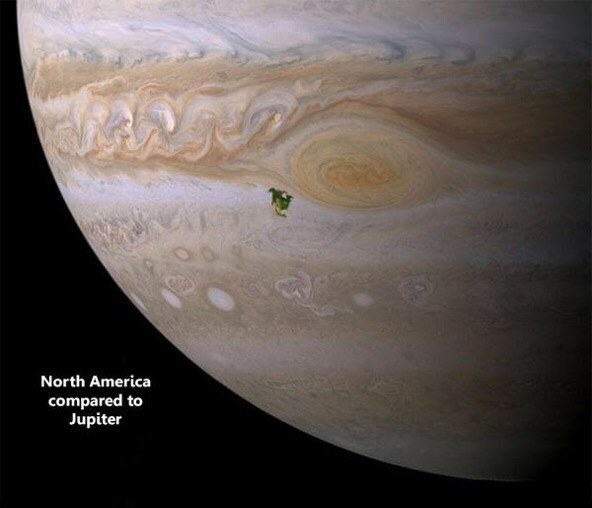 قارة-أمريكا-بالنسبة-لحجم-كوكب-المشترى