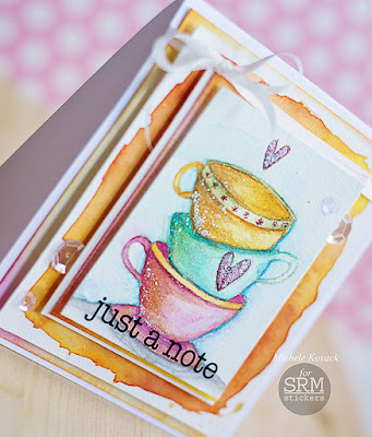 SRM Stickers Blog - Water Colors and Coffee….by Michele - #card #janesdoodles #teatime #thinkingofyou #stickers