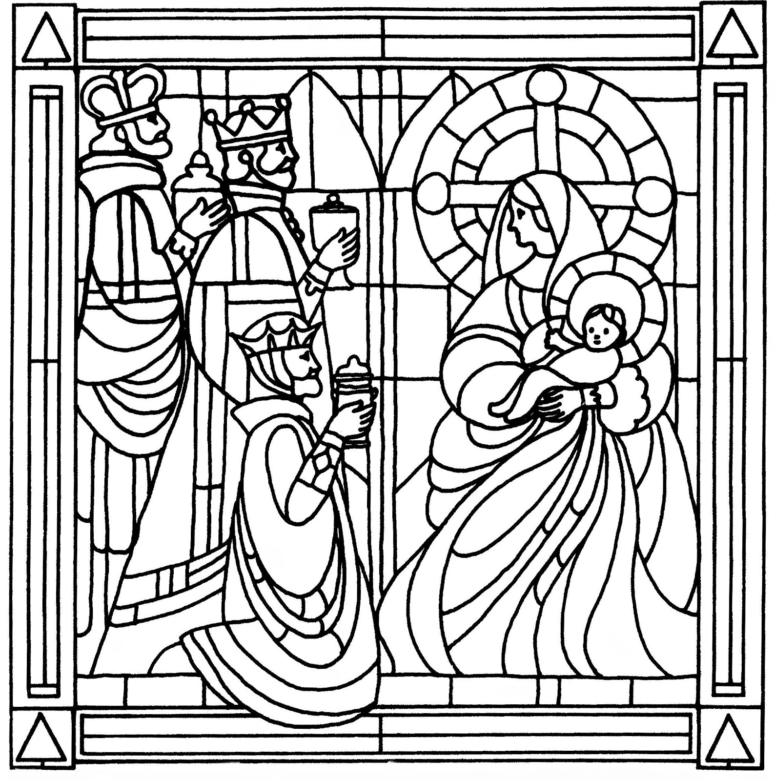 stain glass christmas coloring pages - photo#2